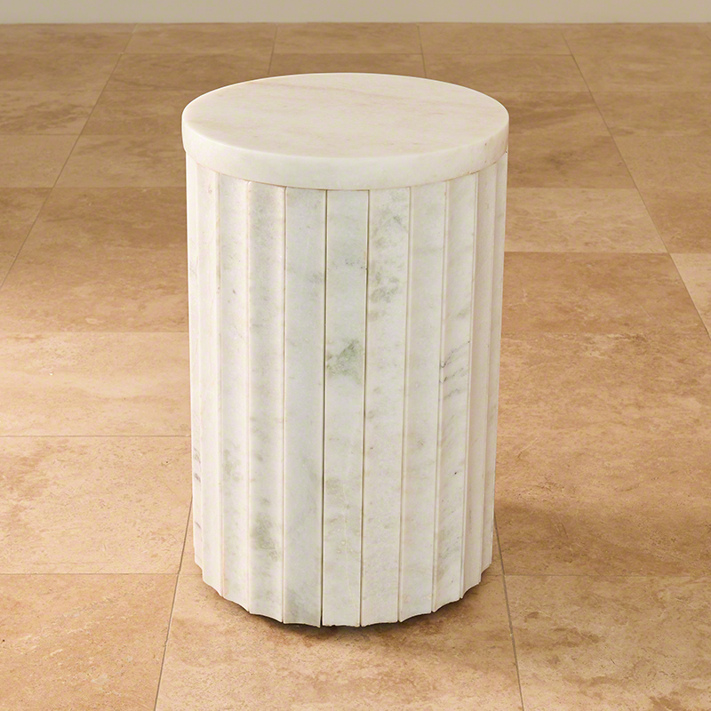 Marble Column Table-White