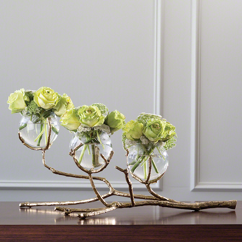 Twig 3 Vase Holder-Brass