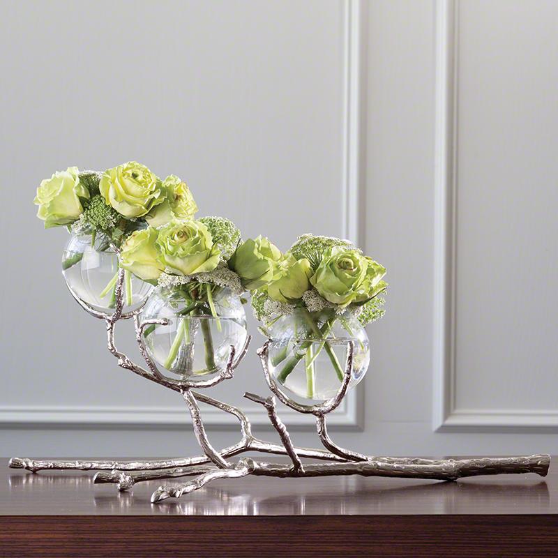 Twig 3 Vase Holder-Nickel