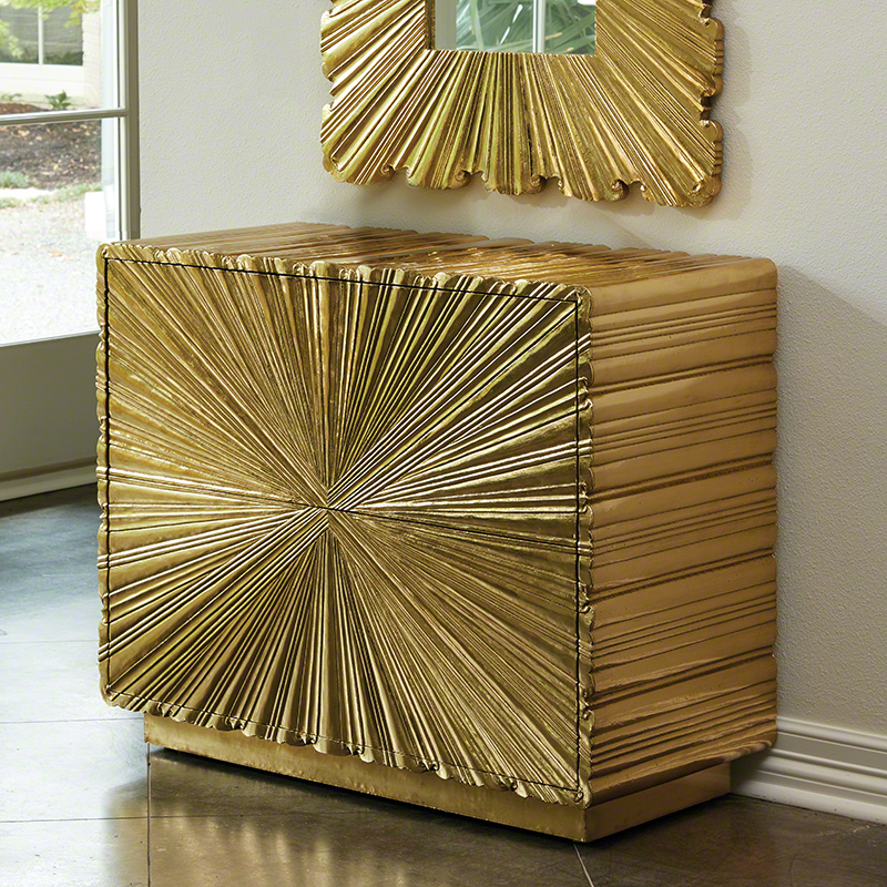 Linen Fold 2 Drawer Chest-Brass