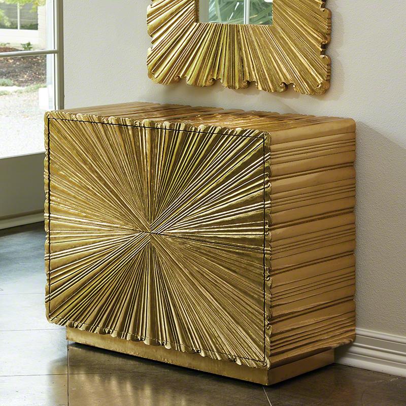 Linen Fold 2 Drawer Chest-Brass