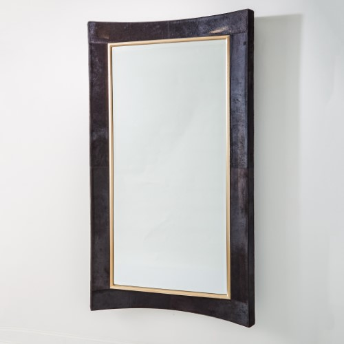 Curved Floor Mirror-Black Hair-On-Hide