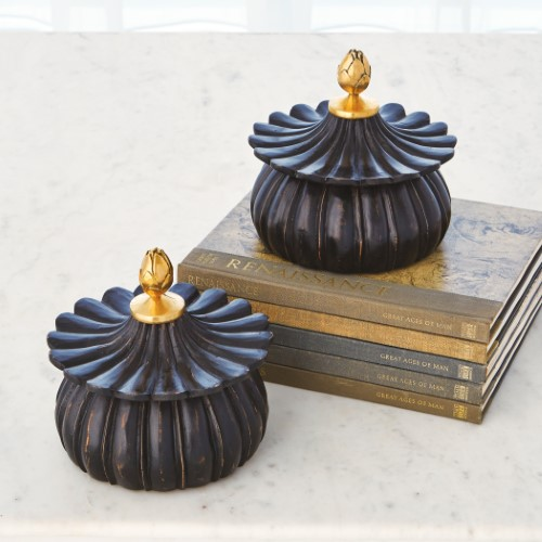 Carved Lotus Box-Black Antique