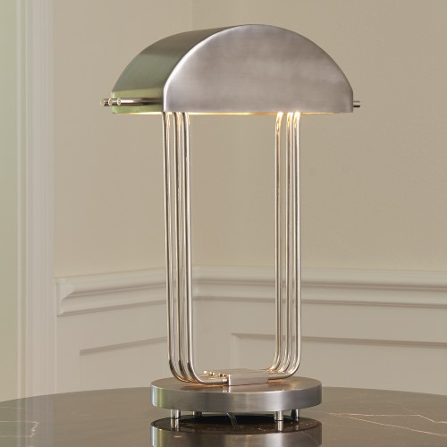 Arc Deco Table Lamp-Nickel/Charcoal