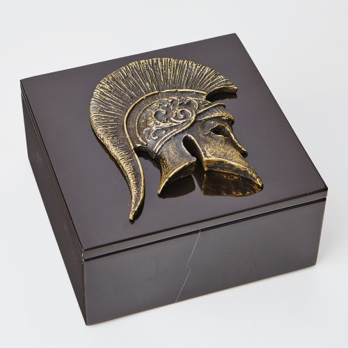 Greek Helmet Box Top-Bronze/Black