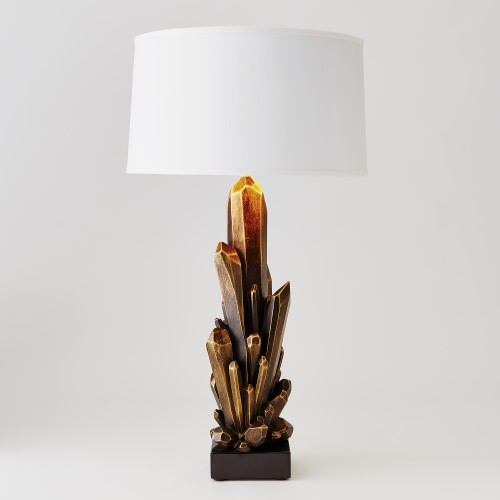 Facet Cluster Lamp-Bronze w/White Shade