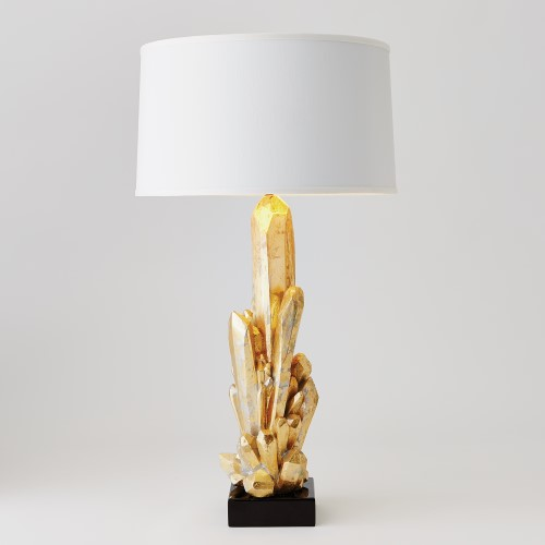 Facet Cluster Lamp-Gold w/White Shade