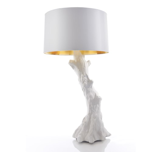 Faux Bois Lamp-White w/White Shade
