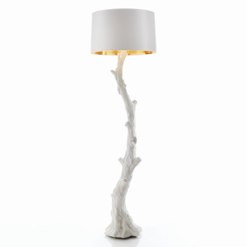 Faux Bois Floor Lamp-White