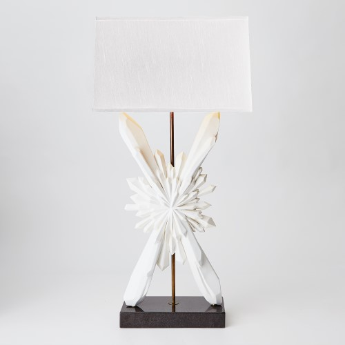 Facet Sunburst Lamp-White W/White Shade