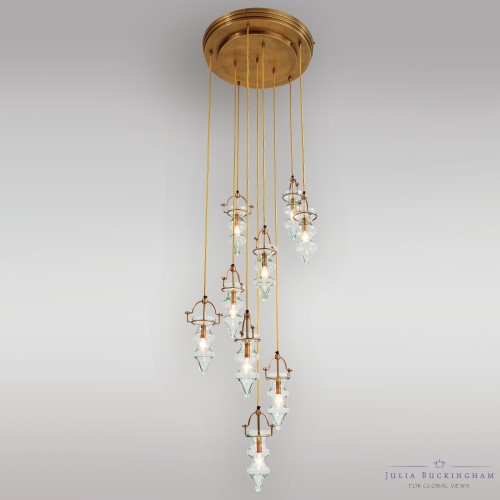 Tea Light Chandelier-Lightest Aqua