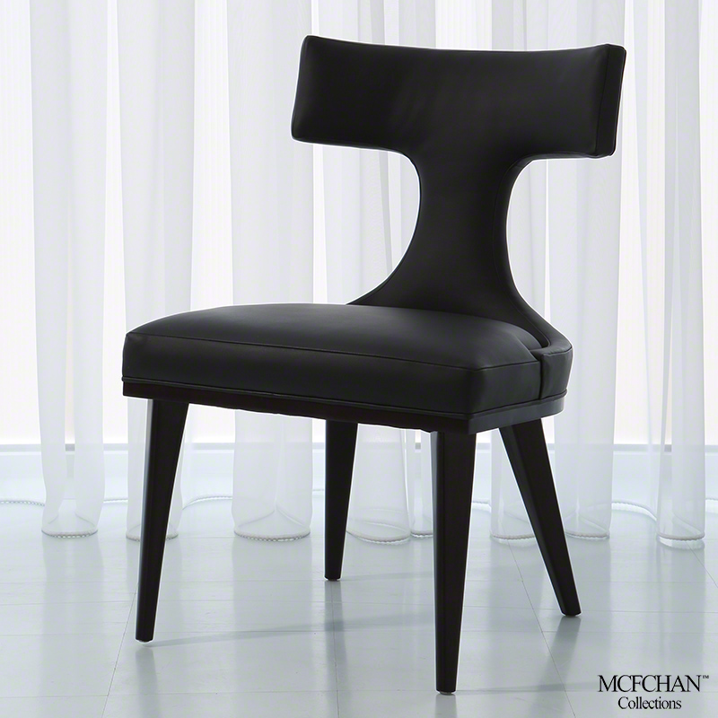 Anvil Back Dining Chair-Black Leather