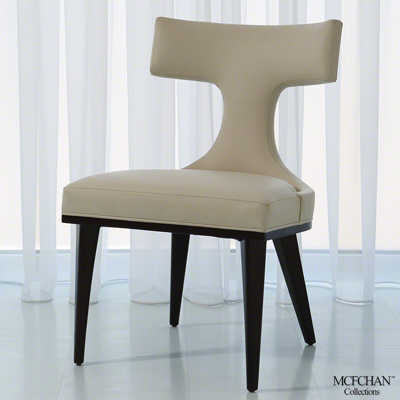 Anvil Back Dining Chair-Ivory Leather