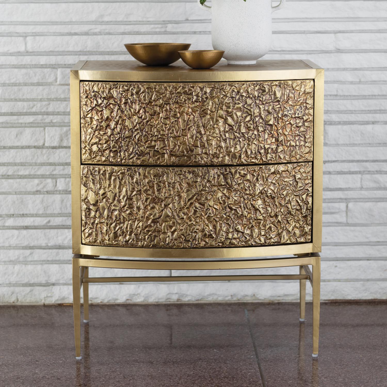 Crinkle Bedside Chest Brass Bronze