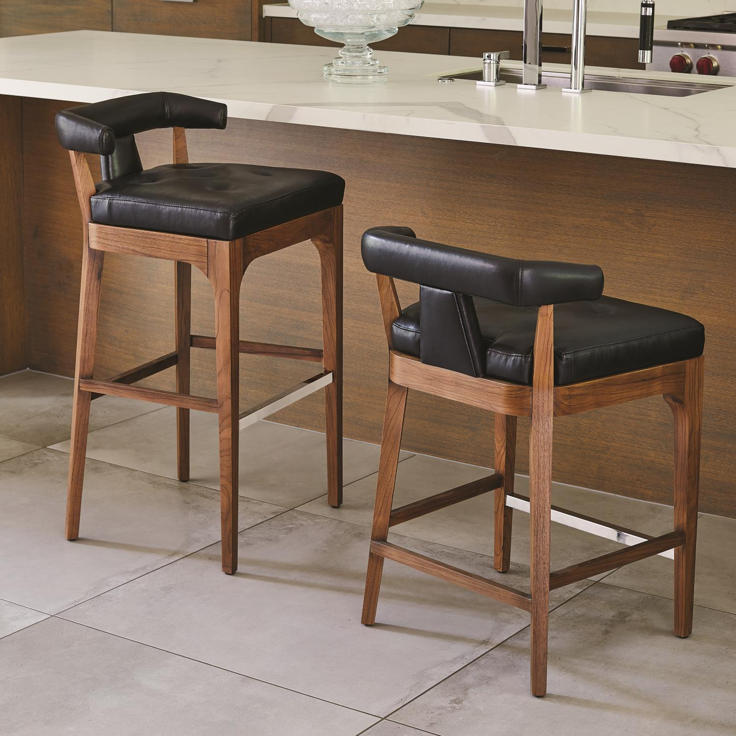 Outstanding Moderno Counter Stool Black Marble Leather Evergreenethics Interior Chair Design Evergreenethicsorg
