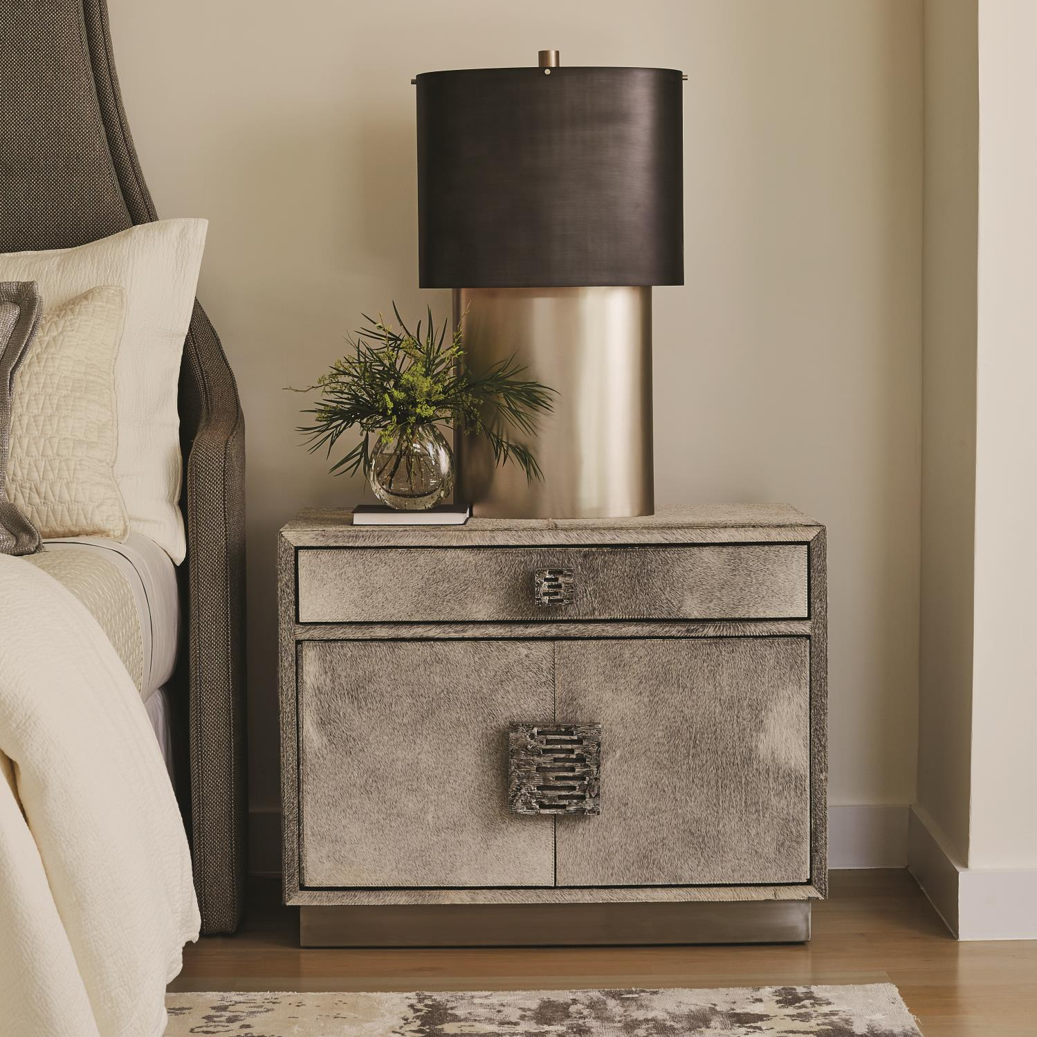 Metro Nightstand Grey Hair On Hide