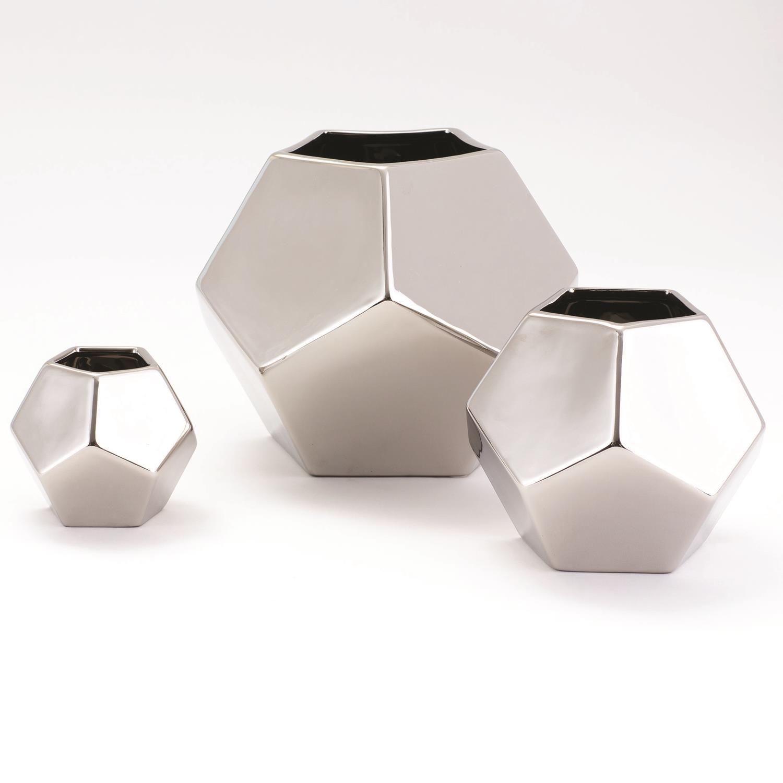 Faceted Vase Silver