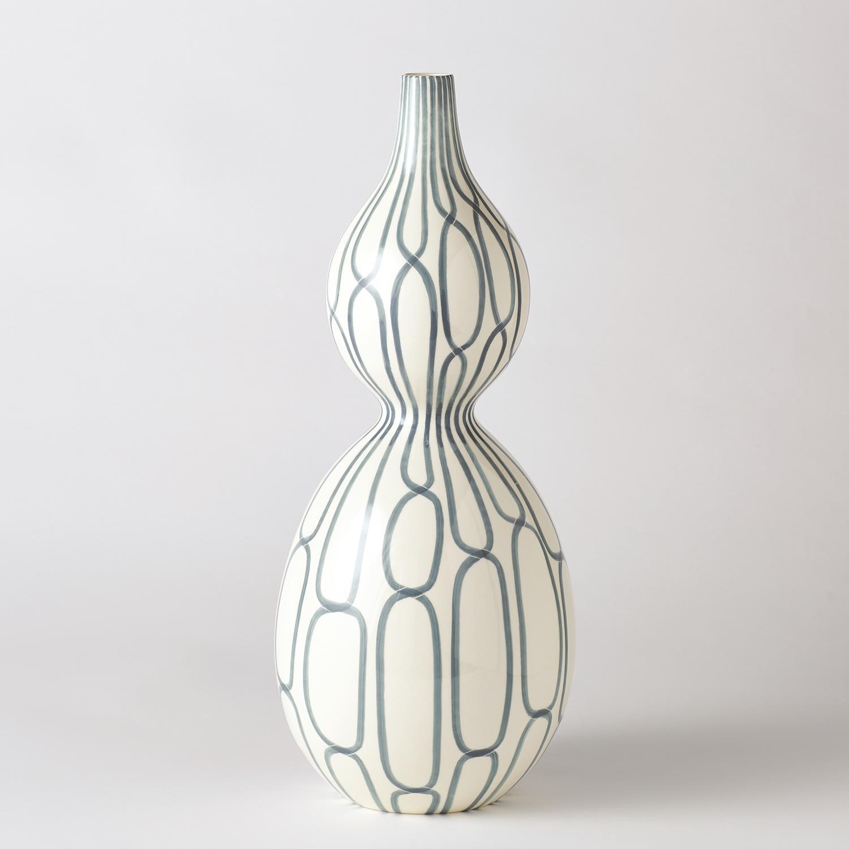 Linking Trellis Double Bulb Vase Blue