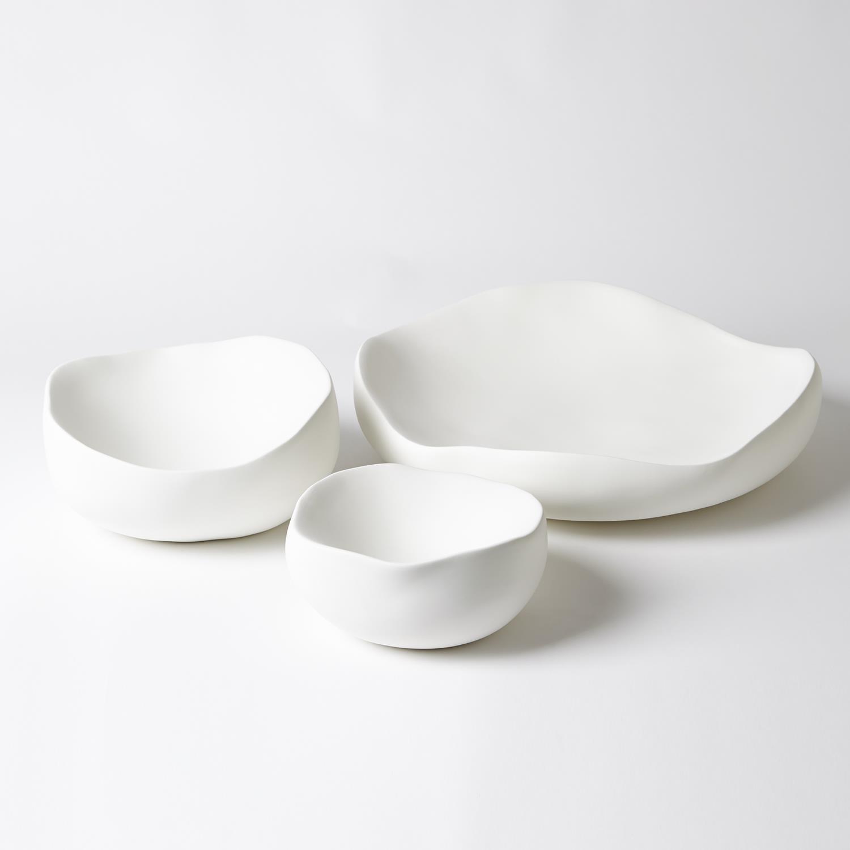 Organic Round Bowls   Matte White