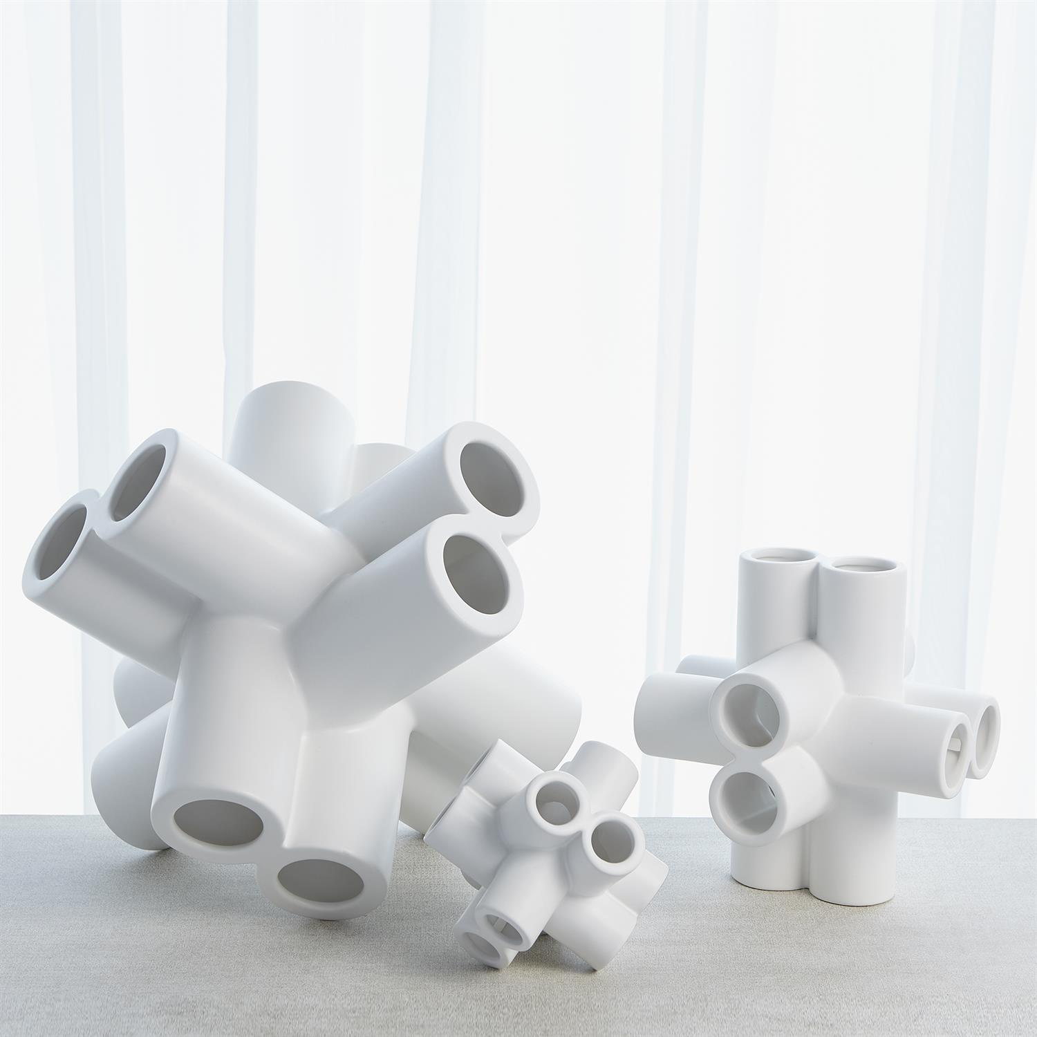 Cube Tube Sculpture Matte White