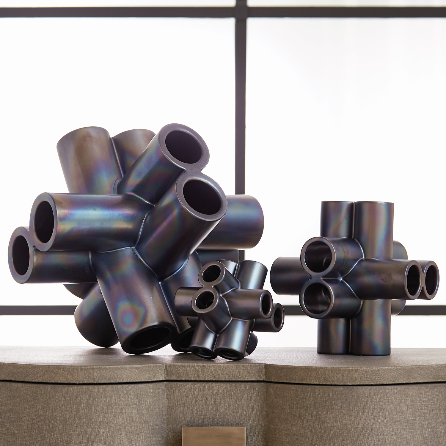 Cube Tube Sculpture Black Luster