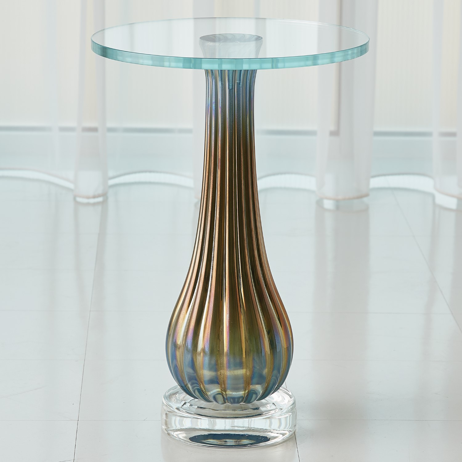 - Irys Blue Ribbed Accent Table