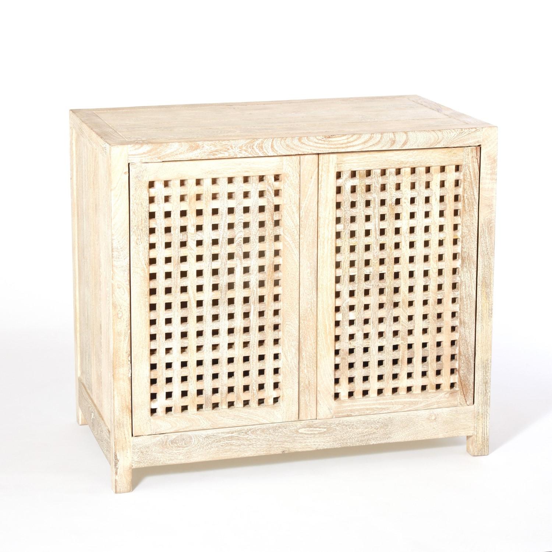 Driftwood Lattice 2 Door Cabinet