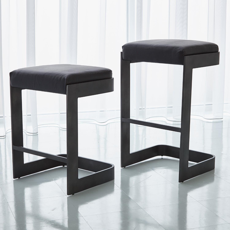 Magnificent Regan Barstool W Black Leather Graphite Creativecarmelina Interior Chair Design Creativecarmelinacom