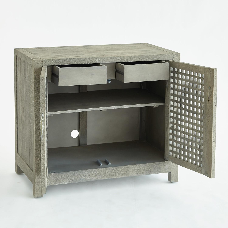 Driftwood Lattice 2 Door Cabinet Grey