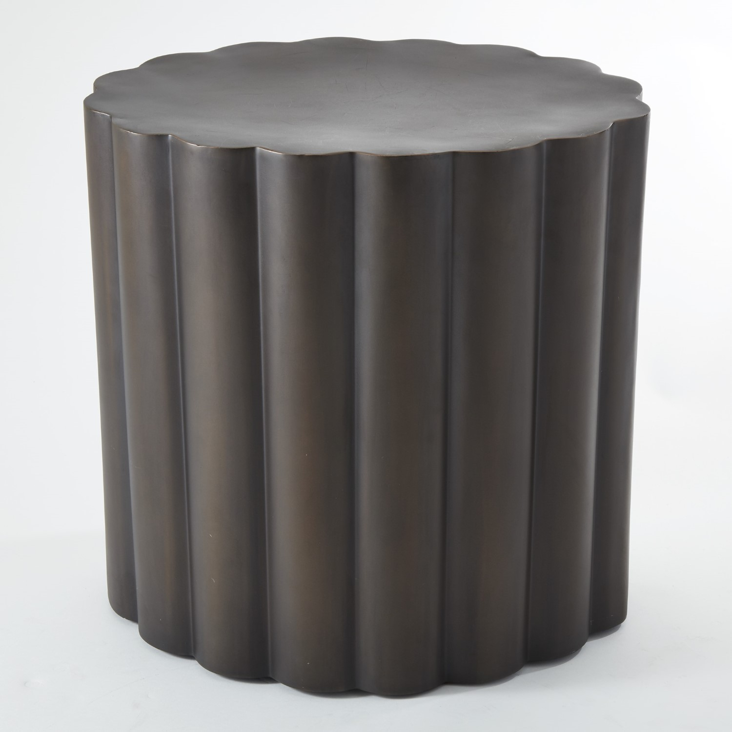 Fluted table antique bronze finish