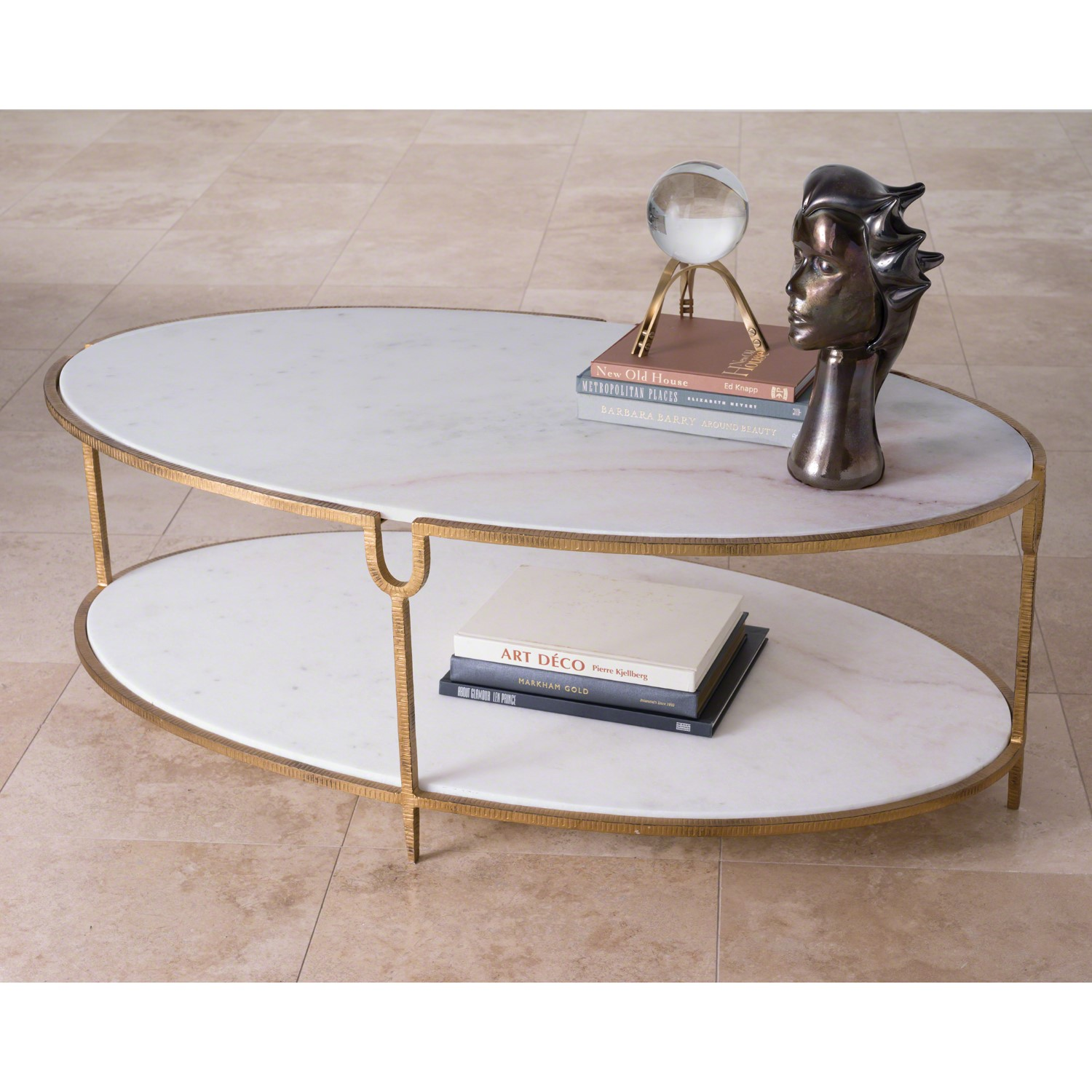 9bc727dca5bcd Iron and Stone Oval Coffee Table