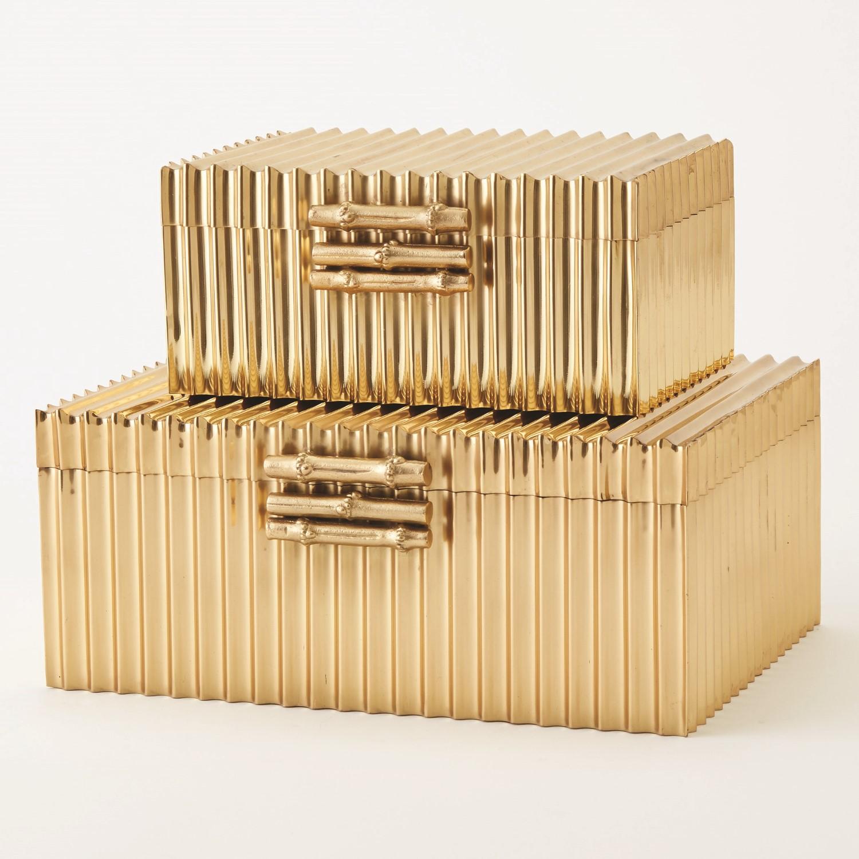 Corrugated Bamboo Box Brass