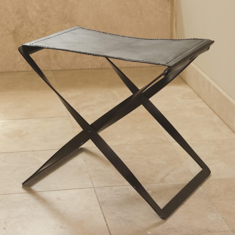 Enjoyable Folding Stool Iron Brown Leather Creativecarmelina Interior Chair Design Creativecarmelinacom