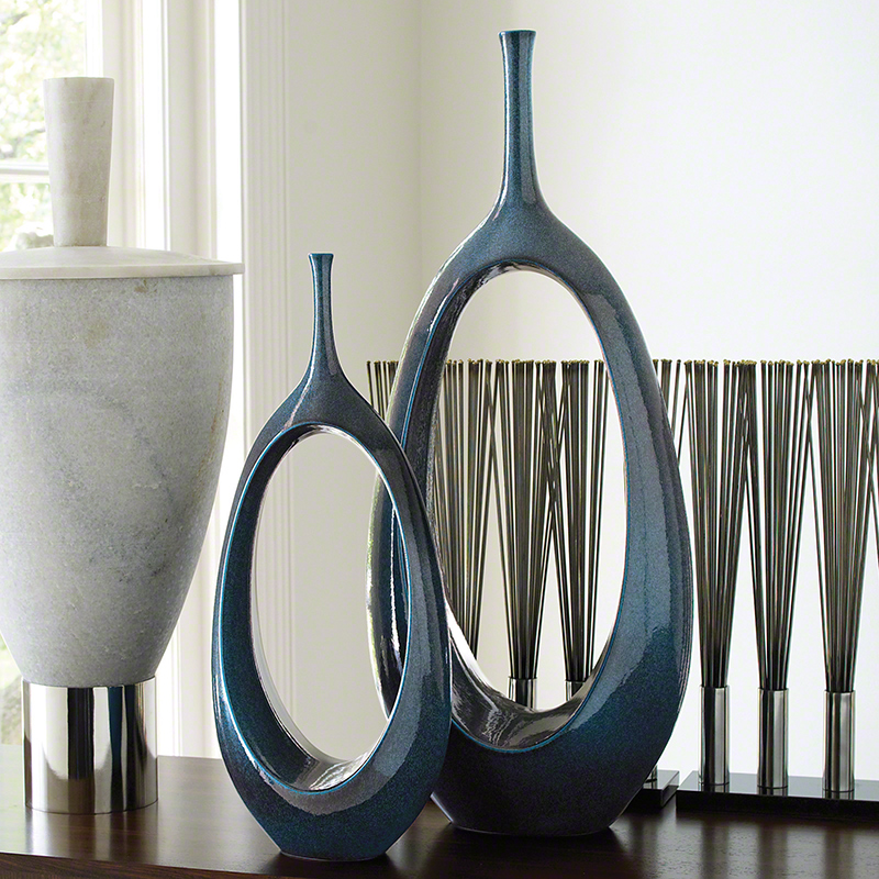 GLOBAL VIEWS | products | Open Oval Ring Vase-Celestial on teal boxes, teal lanterns, teal candles, teal floral, teal decorative canisters, teal office decor, tall ceramic vases, teal cabinets, teal home decor, teal leaves, teal decorative candlesticks, teal glassware, teal paintings, teal decorative accessories, teal books, teal wedding, teal decorative containers, teal decorative accents, teal jewelry, teal garden decor,