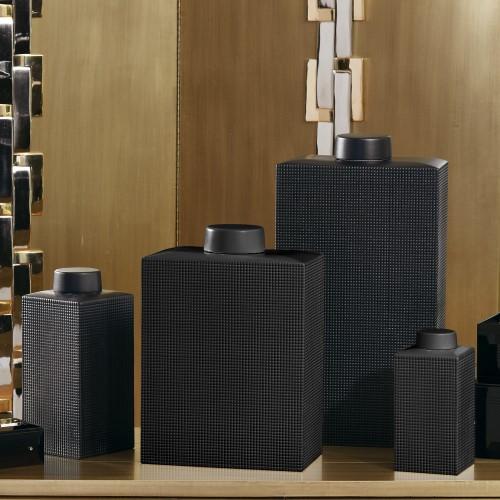 Grid Texture Jar-Black