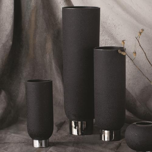 Silver Banded Vase-Black