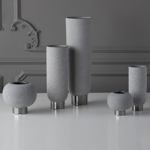 Silver Banded Sphere Vase-Grey