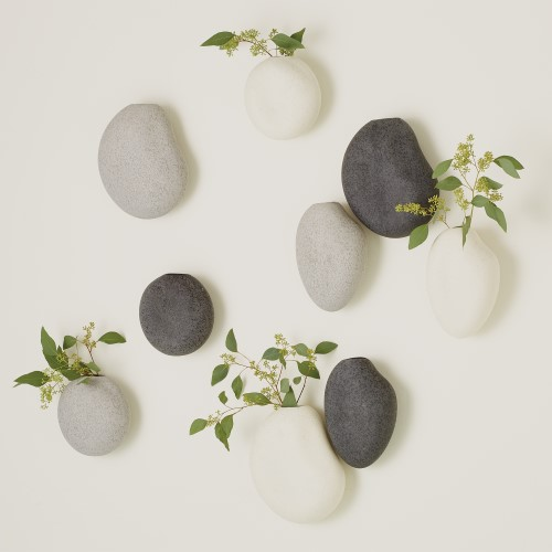 S/3 Pebble Wall Vases
