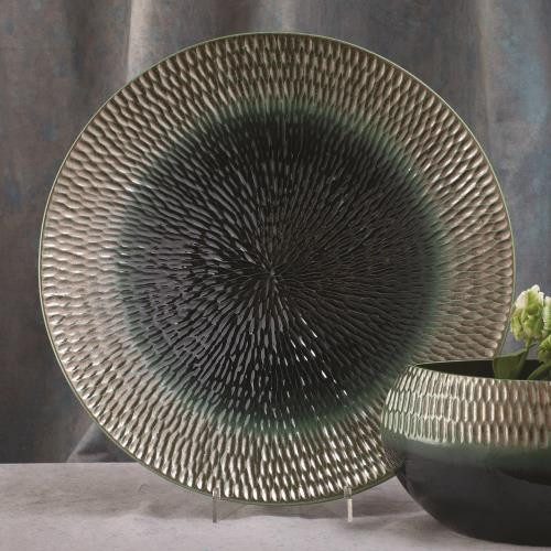 Carved Charger-Pewter/Aqua