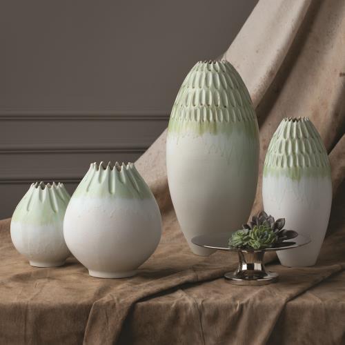 Cut Carved Vase-Sage