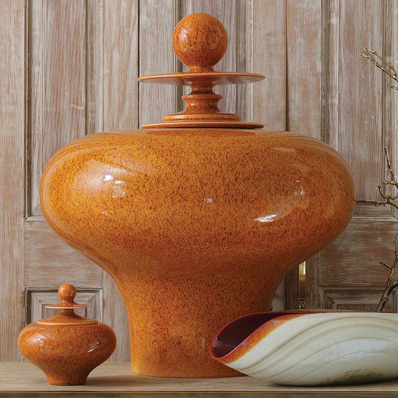 Happy Temple Jar-Squat-Orange