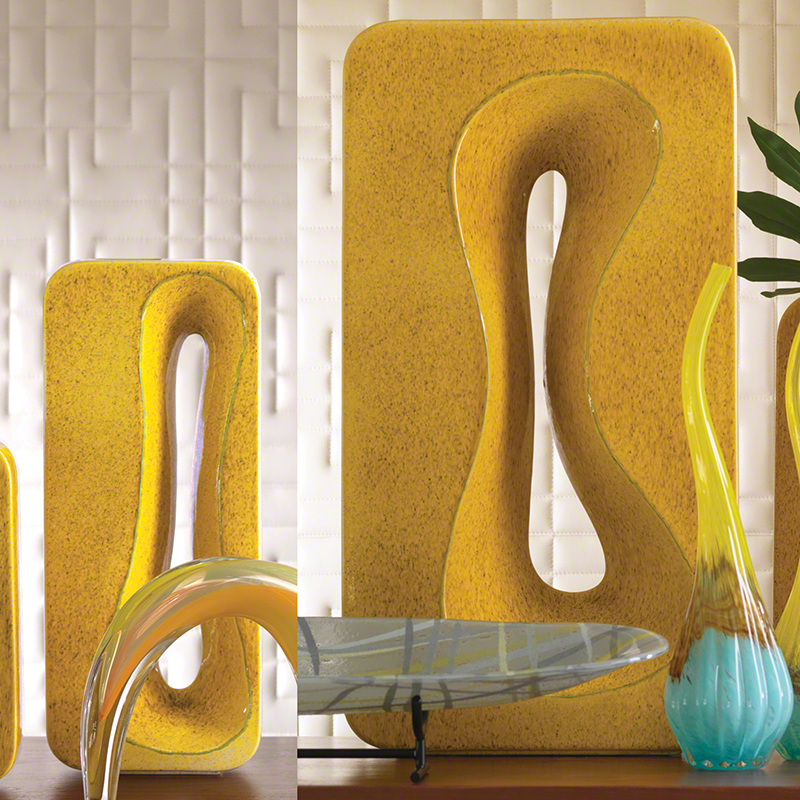Rectangular Amoeba Vase-Yellow