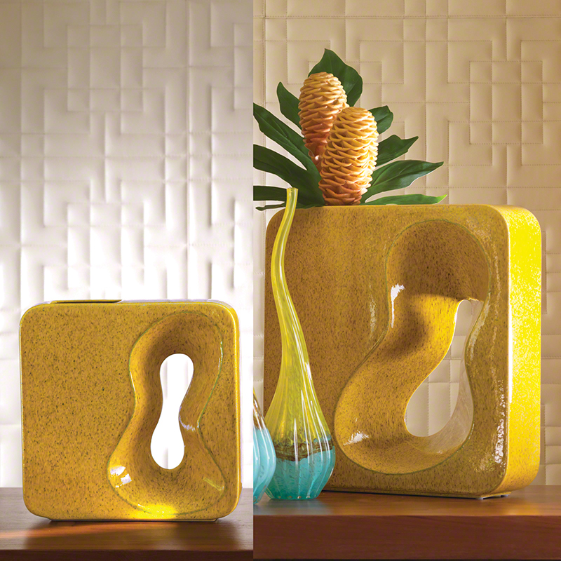 Square Amoeba Vase-Yellow