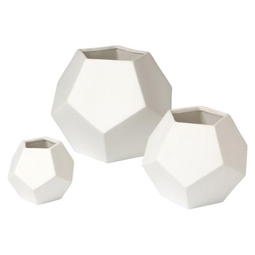 Faceted Vase-White