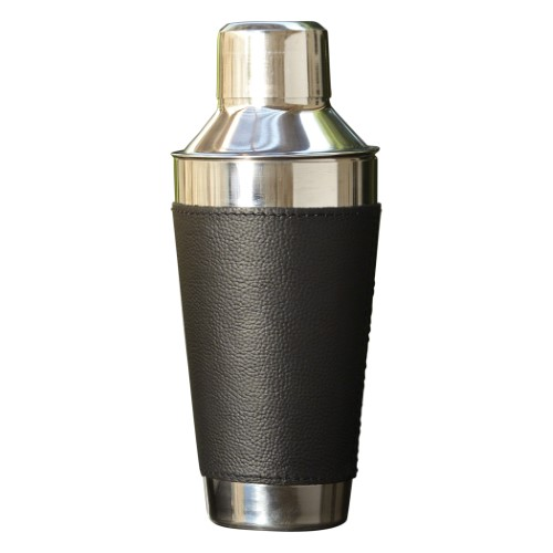 Cocktail Shaker-Leather Wrapped-Black/Stainless Steel
