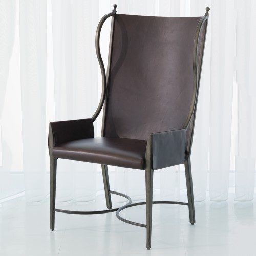 Iron/Leather Wing Chair