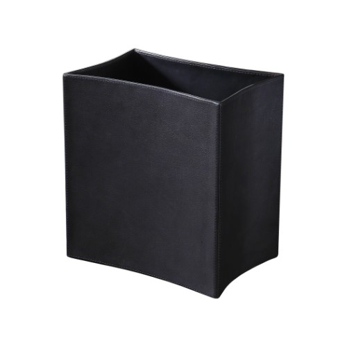 Folded Leather Waste Basket-Black