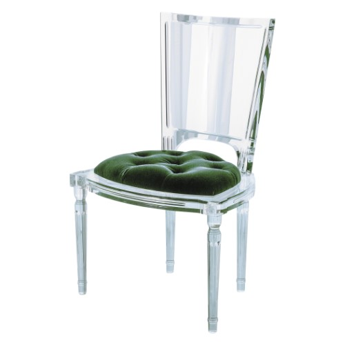Marilyn Acrylic Side Chair-Emerald Green