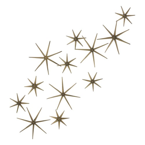 S/12 Etoile Wall Decor-Brass
