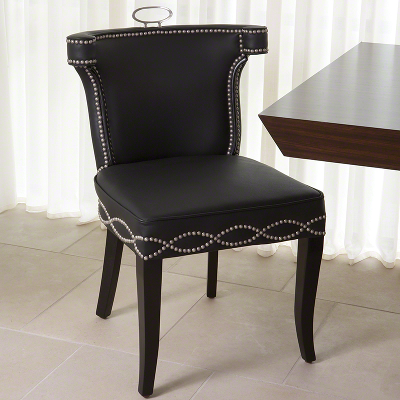 Global Views Products Casino Chair Black Leather W
